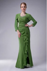 Dark Green Straps Zipper Beading Mother Of The Bride Dress Sleeveless