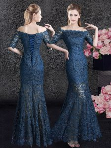 Beauteous Mermaid Navy Blue Lace Lace Up Off The Shoulder Half Sleeves Floor Length Mother Of The Bride Dress Lace
