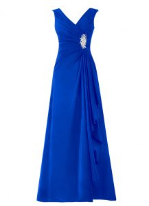 Royal Blue Zipper Mother Of The Bride Dress Beading Sleeveless Floor Length