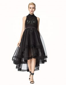 Artistic Asymmetrical Zipper Mother Of The Bride Dress Black for Prom and Party with Lace