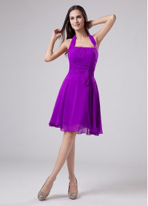 Empire Mother Of The Bride Dress Eggplant Purple Halter Top Chiffon Sleeveless Knee Length Zipper