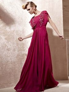 Admirable Fuchsia Scoop Zipper Beading Mother Of The Bride Dress Cap Sleeves