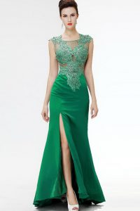 Decent Floor Length Dark Green Mother Of The Bride Dress Square Sleeveless Sweep Train Zipper