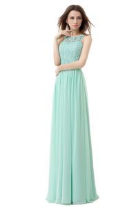 Decent Floor Length Apple Green Mother Of The Bride Dress Scoop Sleeveless Zipper