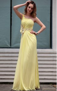Chic One Shoulder Light Yellow Sleeveless Chiffon Side Zipper Mother Of The Bride Dress for Prom and Party