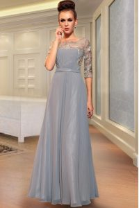 Grey Column/Sheath Chiffon Square Half Sleeves Beading and Embroidery Ankle Length Side Zipper Mother of the Bride Dress