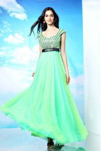 Multi-color Sleeveless Floor Length Beading Backless Mother Of The Bride Dress
