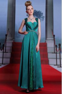 Custom Design Ankle Length Peacock Green Mother Of The Bride Dress Elastic Woven Satin Sleeveless Beading and Lace
