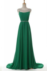 Sophisticated Scoop Sleeveless Elastic Woven Satin Mother of the Bride Dress Belt Sweep Train Side Zipper