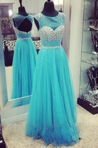 Scoop Sleeveless Chiffon Floor Length Zipper Mother Of The Bride Dress in Turquoise with Beading