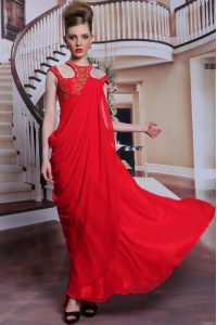 Stylish Scoop Sleeveless Side Zipper Mother Of The Bride Dress Red Chiffon