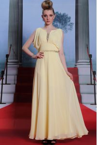 Light Yellow Scoop Side Zipper Beading Mother Of The Bride Dress Sleeveless