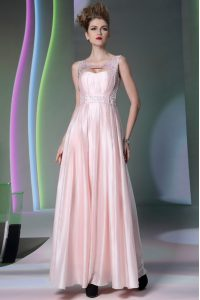 Scoop Floor Length Baby Pink Mother Of The Bride Dress Silk Like Satin Sleeveless Beading