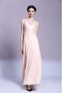 Peach Empire Pattern Mother Of The Bride Dress Criss Cross Satin Sleeveless Floor Length