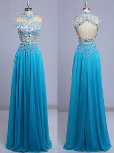 Beading and Lace Mother Of The Bride Dress Baby Blue Backless Cap Sleeves Floor Length
