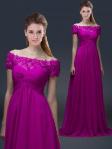 Floor Length Empire Short Sleeves Fuchsia Mother Of The Bride Dress Lace Up
