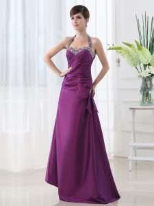 Best Halter Top Floor Length Purple Mother Of The Bride Dress Satin Sleeveless Beading and Ruching