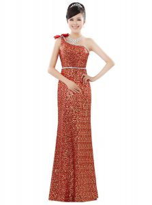 High Class One Shoulder Sleeveless Mother Of The Bride Dress Floor Length Beading and Sequins Orange Sequined