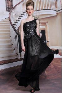 Pretty One Shoulder Sleeveless Mother of the Bride Dress Floor Length Appliques Black Chiffon