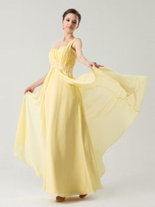 On Sale One Shoulder Sleeveless Chiffon Mother Of The Bride Dress Beading and Ruching Zipper