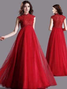 Affordable Red Tulle Zipper Mother Of The Bride Dress Cap Sleeves Floor Length Lace