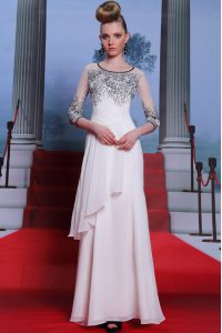 Captivating Scoop 3 4 Length Sleeve Chiffon Mother Of The Bride Dress Beading and Appliques Zipper