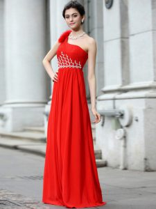 Pretty One Shoulder Coral Red Zipper Mother Of The Bride Dress Beading and Ruching Sleeveless Floor Length