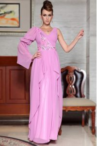 Lilac Mother Of The Bride Dress Prom and Party with Beading and Ruching and Pattern V-neck Long Sleeves Side Zipper