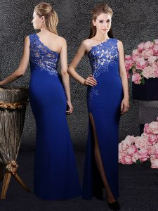 One Shoulder Royal Blue Elastic Woven Satin Side Zipper Mother Of The Bride Dress Sleeveless Floor Length Lace and Appliques