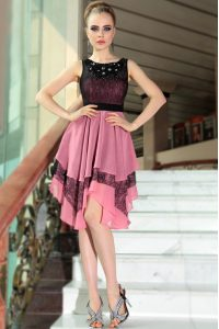 Luxurious Empire Mother Of The Bride Dress Pink And Black Scoop Chiffon Sleeveless Asymmetrical Side Zipper