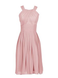 Pink Column/Sheath Chiffon Scoop Sleeveless Pleated Knee Length Zipper Mother Of The Bride Dress