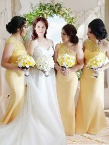 One Shoulder Yellow Sleeveless Satin Zipper Mother Of The Bride Dress for Prom