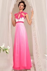 Gorgeous Chiffon High-neck Sleeveless Zipper Beading Mother Of The Bride Dress in Hot Pink