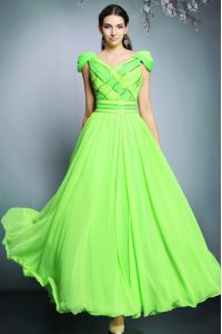 Latest Chiffon V-neck Short Sleeves Backless Pattern Mother Of The Bride Dress in