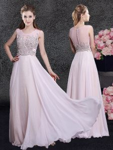 Scoop Sleeveless Chiffon Floor Length Zipper Mother Of The Bride Dress in Pink with Beading