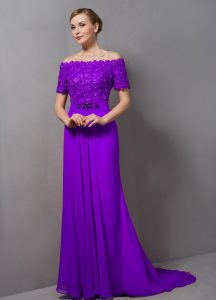 Affordable Eggplant Purple Empire Off The Shoulder Short Sleeves Chiffon Sweep Train Zipper Lace Mother Of The Bride Dress