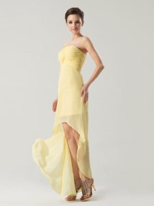 Ruching Mother Of The Bride Dress Light Yellow Zipper Sleeveless High Low