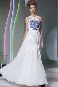 Edgy Halter Top Sleeveless Chiffon Floor Length Zipper Mother Of The Bride Dress in White with Beading and Embroidery