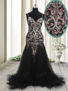 Mermaid With Train Black Mother Of The Bride Dress Tulle Brush Train Sleeveless Beading and Appliques