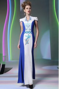 High End Blue And White Chiffon Zipper V-neck Cap Sleeves Floor Length Mother Of The Bride Dress Embroidery
