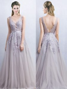 Grey A-line V-neck Sleeveless Tulle With Brush Train Backless Appliques and Belt Mother Of The Bride Dress