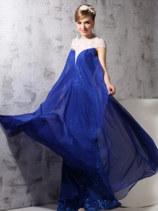 Pretty Royal Blue Zipper High-neck Lace and Sequins Mother of Groom Dress Chiffon and Sequined Sleeveless