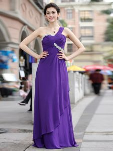 Cute One Shoulder Sleeveless Chiffon Floor Length Zipper Mother of Bride Dresses in Purple with Beading
