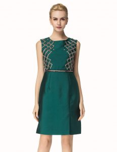 Knee Length Zipper Mother of the Bride Dress Dark Green for Party with Beading