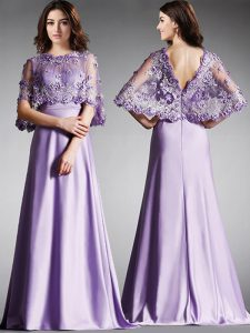 Scoop Lavender Half Sleeves Floor Length Lace Zipper Mother Dresses