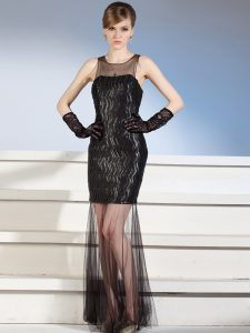 Top Selling Black Column/Sheath Scoop Sleeveless Tulle Floor Length Zipper Pattern Mother Of The Bride Dress