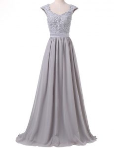 Beauteous Scoop Cap Sleeves Mother Of The Bride Dress Floor Length Lace and Pleated Grey Chiffon