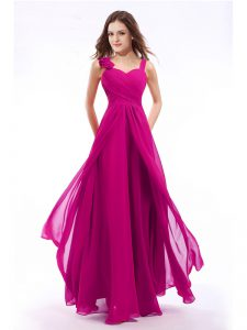 Noble Straps Sleeveless Floor Length Hand Made Flower Zipper Mother Of The Bride Dress with Fuchsia