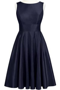 Charming Scoop Navy Blue Sleeveless Bowknot Knee Length Mother of Groom Dress
