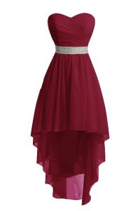 Luxurious Burgundy Lace Up Sweetheart Belt Mother Of The Bride Dress Organza Sleeveless